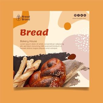 Modelo de flyer quadrado de pão