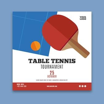 Modelo de flyer quadrado de tênis de mesa
