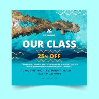 Modelo de flyer quadrado para aulas de natação
