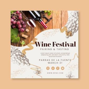 Modelo de flyer quadrado para degustação de vinhos