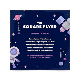 Modelo de flyer quadrado plano