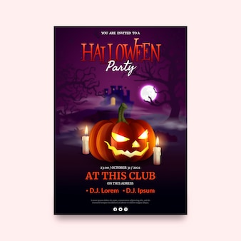 Modelo de flyer vertical para festa de halloween realista