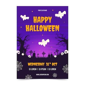 Modelo de flyer vertical para festa plana de halloween