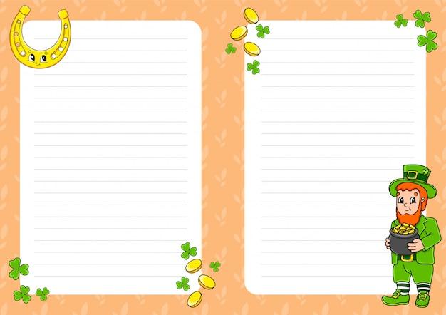 Modelo de folha colorida para anotações. página de papel para jornal de arte, caderno. dia de são patricio. duende com um pote de ouro, ferradura.