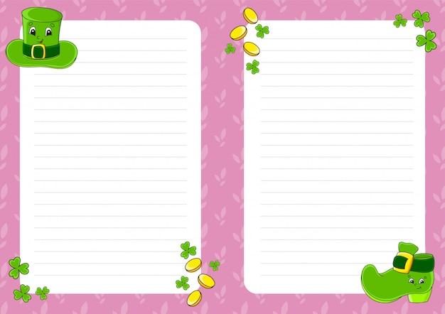 Modelo de folha colorida para anotações. página de papel para jornal de arte, caderno. dia de são patricio.