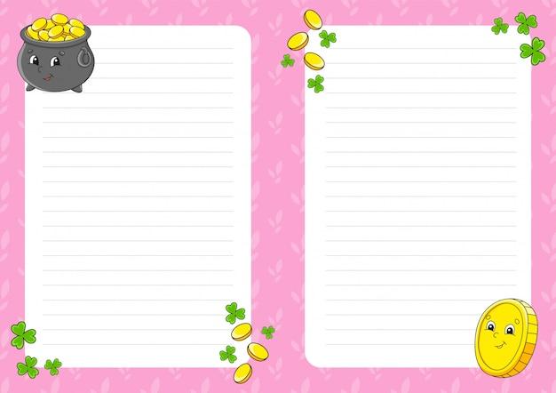 Modelo de folha colorida para anotações. página de papel para jornal de arte, caderno.