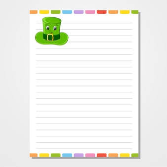 Modelo de folha para caderno, bloco de notas, diário. papel pautado.