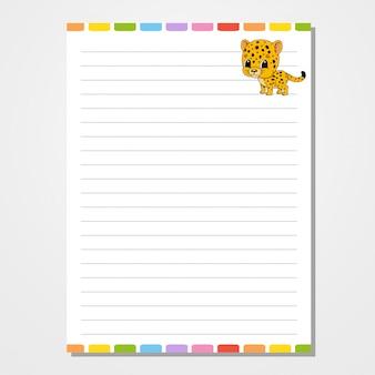 Modelo de folha para notebook, bloco de notas, diário.