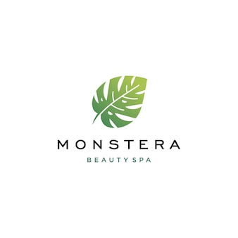 Modelo de folha tropical monstera deliciousa logo