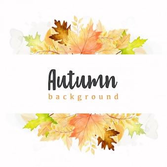 Modelo de folhas de outono em aquarela