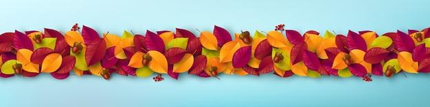 Modelo de folhas de outono. modelo de pôster de outono e banner em estilo plano leigo.