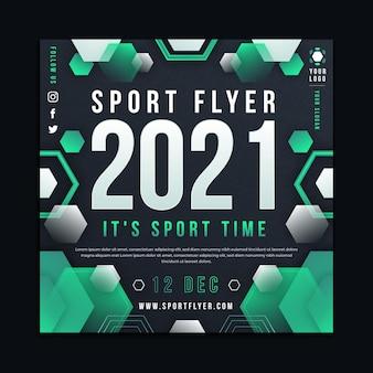 Modelo de folheto 2021 de esporte quadrado