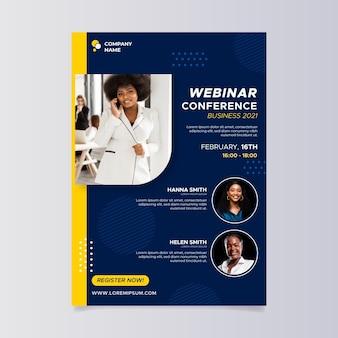 Modelo de folheto a5 de webinar de design plano de negócios