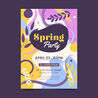 Modelo de folheto abstrato desenhado à mão para festa de primavera
