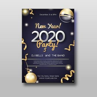 Modelo de folheto abstrato festa ano novo 2020