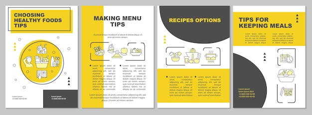 Modelo de folheto amarelo de dicas de planejamento de refeição. fazendo menu. folheto, folheto, impressão de folheto, design da capa com ícones lineares. layouts de vetor para apresentação, relatórios anuais, páginas de anúncios
