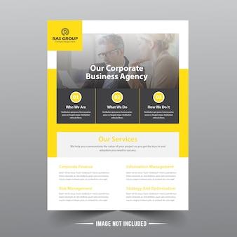 Modelo de folheto amarelo de negócios
