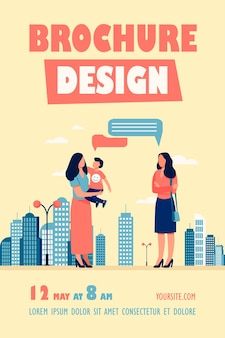 Modelo de folheto ao ar livre para mãe e filho se encontrando com uma amiga