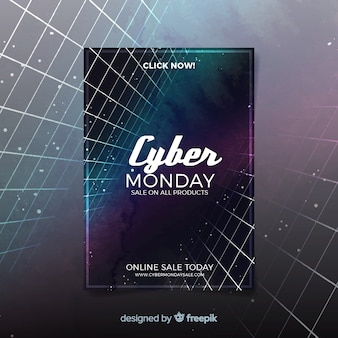 Modelo de folheto aquarela cyber segunda-feira