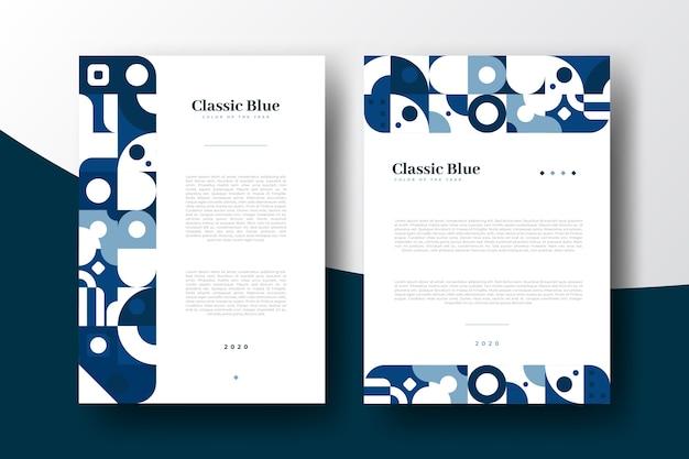 Modelo de folheto azul abstrato clássico