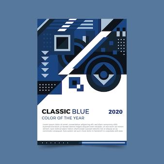 Modelo de folheto azul clássico abstrato