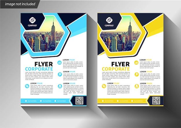 Modelo de folheto azul e amarelo para brochura corporativa