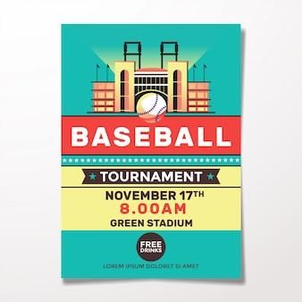Modelo de folheto - beisebol vintage