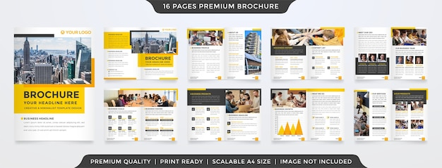 Modelo de folheto bifold com layout minimalista estilo premium