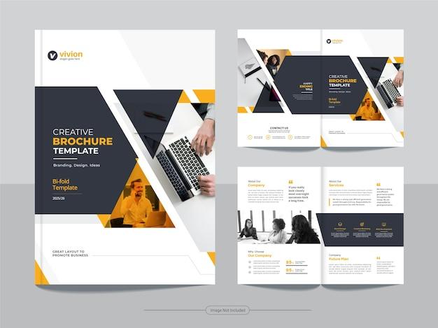 Modelo de folheto bifold de negócios corporativos com design abstrato