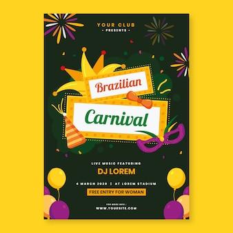 Modelo de folheto - carnaval brasileiro de design plano