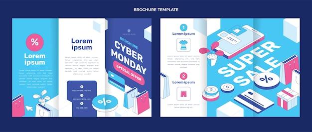 Modelo de folheto cibernético isométrico de segunda-feira