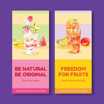 Modelo de folheto com conceito de smoothies de frutas