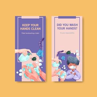 Modelo de folheto com design de conceito de dia de lavagem de mãos global