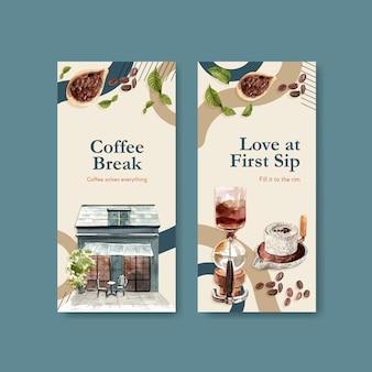 Modelo de folheto com design de conceito de dia internacional do café para propaganda e aquarela de brochura