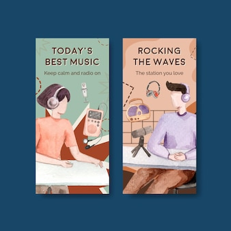 Modelo de folheto com design de conceito de dia mundial do rádio para ilustração em aquarela de brochura e folheto