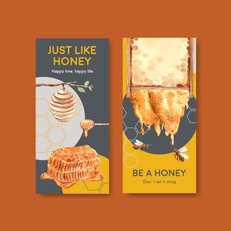 Modelo de folheto com design de conceito de mel para brochura e folheto ilustração vetorial aquarela