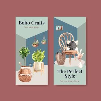 Modelo de folheto com design de conceito de móveis boho para brochura e folheto ilustração em aquarela