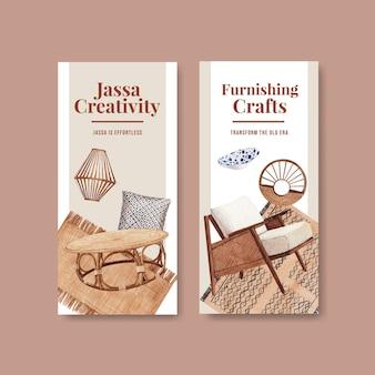 Modelo de folheto com design de conceito de móveis jassa para ilustração vetorial aquarela folheto e folheto