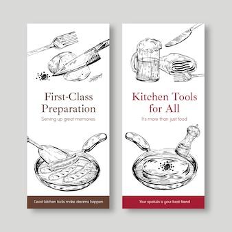 Modelo de folheto com design de conceito de utensílios de cozinha para ilustração vetorial de folheto