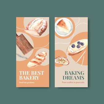 Modelo de folheto com design de conceito europeu de piquenique para brochura e anunciar ilustração em aquarela.