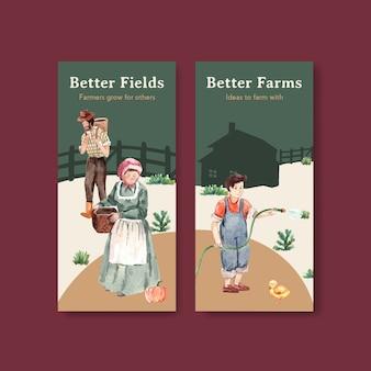 Modelo de folheto com ilustração em aquarela do projeto do conceito de fazenda orgânica.