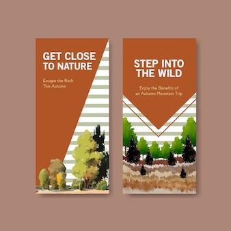 Modelo de folheto com paisagem no design de outono