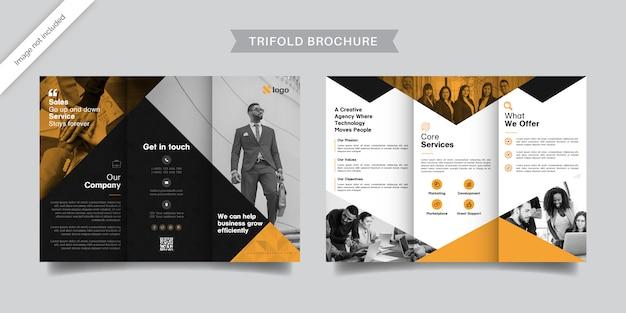 Modelo de folheto com três dobras de negócios modernos