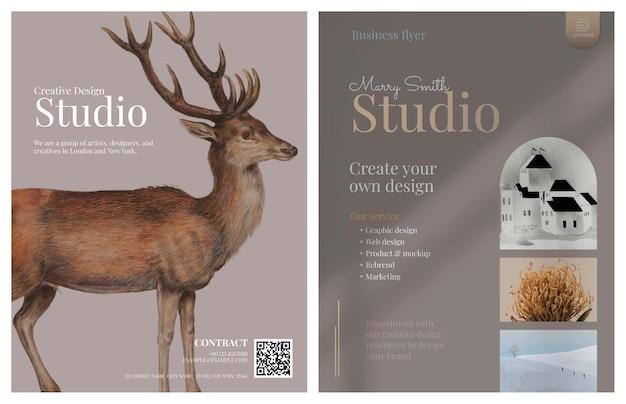 Modelo de folheto comercial com design elegante para artistas criativos