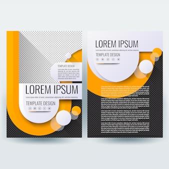 Modelo de folheto comercial com formas de laranja u em fundo de cor preta
