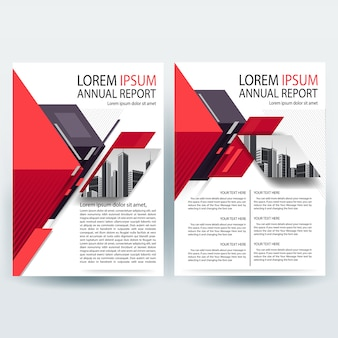 Modelo de folheto comercial com geométrica vermelha e magenta