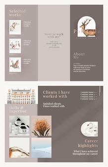 Modelo de folheto comercial com três dobras em design elegante para uma empresa de arte