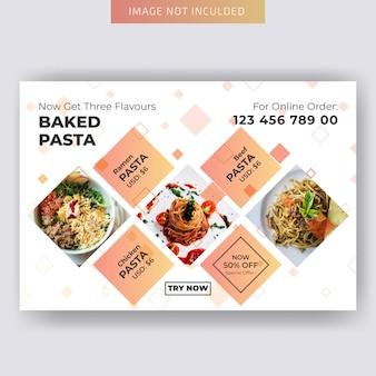 Modelo de folheto - comida horizontal para restaurante