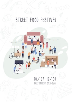 Modelo de folheto, convite ou cartaz para o festival de comida de rua de verão com pessoas caminhando entre vans ou fornecedores, comprando refeições, comendo e bebendo.