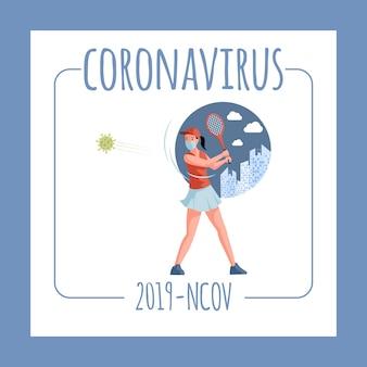 Modelo de folheto - coronavírus ncov-2019. tenista em máscara facial lutando células covid-19 com raquete de tênis.